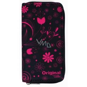 Albi Original Peňaženka na zips Ružové kvety 17,3 x 9 x 2,5 cm
