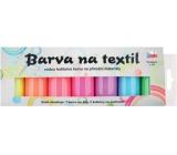Sada barev na světlý textil svítící ve tmě 7 x 15 g + šablony