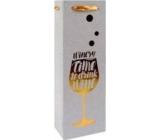 Ditipo Darčeková papierová taška na fľašu Glitter, strieborná, zlatý pohár 12 x 35 x 9 cm