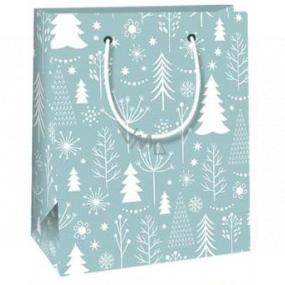 Ditipo Darčeková papierová taška 11,5 x 6,5 x 14,5 cm svetlomodrá biele stromčeky