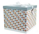 Dárková krabička skládací s mašlí Mozaika L 22 x 22 x 13 cm