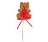 Medvídek z filcu se srdíčkem hnědý zápich 6,5 cm + špejle