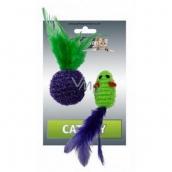 Papillon Lurex Myška jednofarebná hračka pre mačky 5 cm + loptička 4 cm s perkami