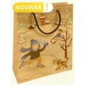 Nekupto Darčeková Kraftová taška 25 x 8 x 19 cm Vianočné deti na snehu 596 WKHM