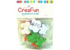 CreaFun Samolepiace dekorácie Žaba 4 x 6,3 cm, 3 x 5 cm 8 kusov