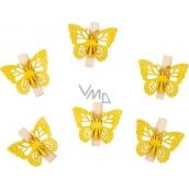 Motýli dřevění s kolíčkem žlutí 4 cm 6 kusů