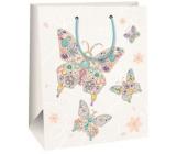 Ditipo Dárková papírová taška velká bílá, s motýly 26,4 x 13,7 x 32,4 cm AB