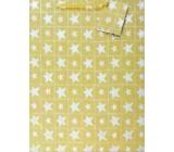 Nekupto Darčeková papierová taška strednej 23 x 18 x 10 cm Vianočné, zlatá, hologramová 016 01 GM