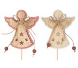 Anjel drevený 8 cm + špajle 1 kus