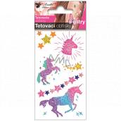 Tetovacie obtlačky farebné s glitrami pre deti Jednorožcovi 10,5 x 6 cm