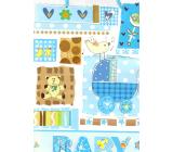 Nekupto Darčeková papierová taška 32,5 x 26 x 13 cm Baby chlapček modrá 1 kus 1561 40 KFL