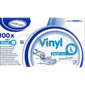 WIMEX Rukavice hygienické jednorázové vinylové púdrované biele, veľkosť L, box 100 kusov