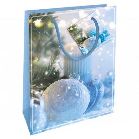 Nekupto Darčeková papierová taška 14 x 11 x 6,5 cm Vianočná modrá banka WBS 1921 40