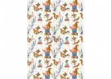 Ditipo Darčekový baliaci papier 70 x 100 cm Biely líšky, veveričky a modrí vtáčiky 2 archy