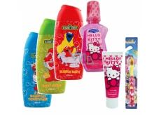 Sesame Street 2v1 kampon a kondicioner 400 ml + sprchový gel 400 ml + pěna do koupele 400 ml + Hello Kitty zubní pasta 75 ml + Hello Kitty ústní voda 275 ml, kosmetická sada