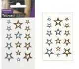 Tetovacie obtlačky zlaté a strieborné Hviezdy 10,5 x 6 cm