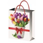 Anděl Taška dárková celoroční dárková tulipány 32 x 26 x 12,7 cm