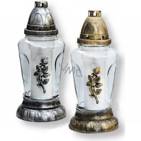 Rolchem Lampa sklenená s ruží zlatá, strieborná 25 cm 32 hodín 70 g Z-26 1 kus