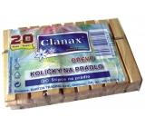 Clanax Štipce na bielizeň drevené 20 kusov