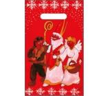 Anděl Igelitová taška červená čert, Mikuláš, anděl 32 x 20 cm