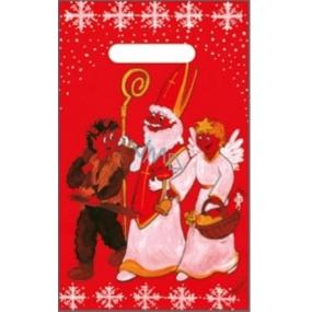 Taška igelitová červená čert, Mikuláš, anděl 32 x 20 cm