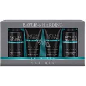 Baylis & Harding Men Jantar a Santalové drevo tekuté mydlo na telo aj vlasy 100 ml + umývací gél na tvár 100 ml + balzam po holení 50 ml + sprchový gél 50 ml, kozmetická sada pre mužov