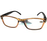 Berkeley Čítacie dioptrické okuliare +2,0 plast priehľadné hnedé, čierne stranice 1 kus MC2166