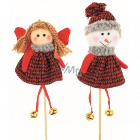 Zápich pletený Anjel, snehuliak 13 cm + špajdle, 1 kus