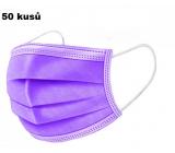 Shield Rúška 3 vrstvová ochranná zdravotné netkaná jednorazová, nízky dýchací odpor 50 kusov fialová
