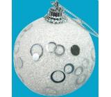 Baňka bílá se stříbrnými ozdobami 6 cm 1 kus