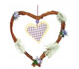 Srdce fialkový dekor se srdíčkem 22 cm