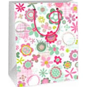 Ditipo Darčeková papierová taška 18 x 10 x 22,7 cm biela ružovej a zelenej kvety