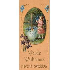 Bohemia Gifts & Cosmetics Veselé Velikonoce dívka s květy Mléčná čokoláda dárková 100 g