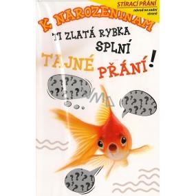 Nekupto Stírací přání k narozeninám Zlatá rybka G 31 3349 21,5 x 13,5 cm