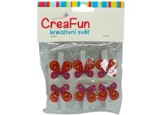 CreaFun Motýľ kolíček 6 kusov