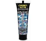 Diva & Nice Zavalitý Glitter Holographic UV ozdobný gél na telo a tvár Mermaid Mist - modrý 13 ml