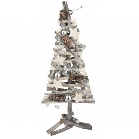 Vianočný strom prútený prepletený z vetvičiek strieborný 40 cm