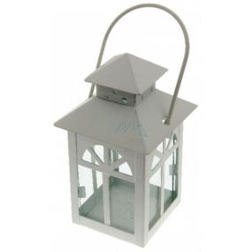 Lucerna kovová Okná biela 135 mm