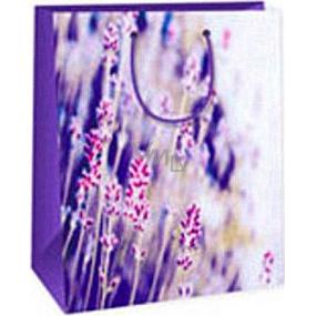 Ditipo Darčeková papierová taška 26,4 x 13,7 x 32,4 cm fialovo biela s kvetmi AB