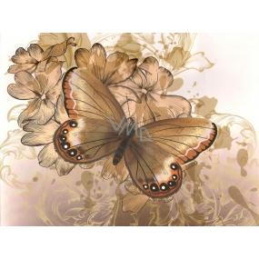 Nekupto Dárková kraftová taška malá 23 x 18 x 10 cm Béžová s motýlem 1 kus