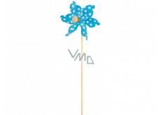 Veterník s veľkými bodkami modrý 9 cm + špajle 1 kus