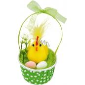 Kuriatko s vajcami v zelenom košíku 12 cm