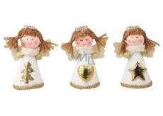 Anjel v bielych pletených šatách na postavenie 8 cm 1 kus