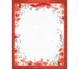 Ditipo Darčeková papierová taška 18 x 23 x 10 cm biela červený rámček s kytkama