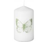 Emóciám Sviečka valec s potlačou Motýľ biela 58 x 100 mm