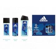 Adidas UEFA Champions League Dare Edition VI parfumovaný deodorant sklo pre mužov 75 ml + sprchový gél 250 ml + dezodorant sprej 150 ml, kozmetická sada