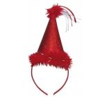 Klobúčik s labutienkou červený, čelenka