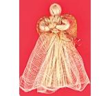 Anjel zlatý dekor so zvlnenou sukňou 17 cm