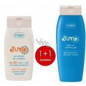 Ziaja Sun SPF50+ voděodolné mléko na opalování pro děti 125 ml + Sun zklidňující gel po opalování 200 ml, duopack