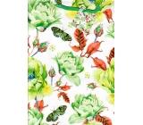 Nekupto Dárková papírová taška velká 32,5 x 26 x 13 cm Květy s motýli 1721 50 KFL